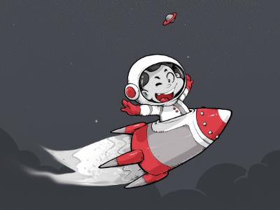 Up thanh nhan xnhan00 web design illustration childrens astronaut red