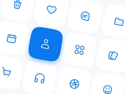 Roundly Icons: 110 line icons for Figma clean ui creative app components dashboard ui mobile ui figma symbols blue interface icons design product design icons icon set