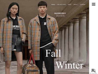 BURBERRY redesigned webpage