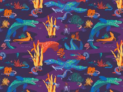 Pattern dinosaur upholstery lining tapestry illustration design pattern squid colors fish abyss anemone plants dino sea animals sea dinosaur