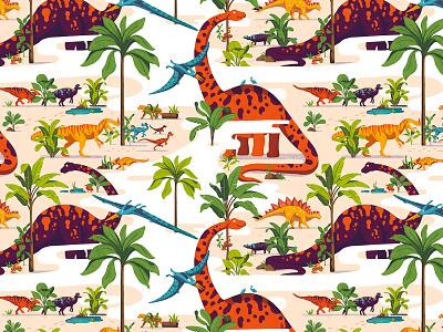Pattern dinosaur 2 texture snake palmtree palm earth lining tapestry illustration design pattern colors plants dino dinosaur
