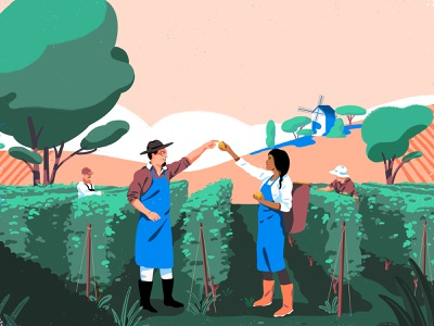 Pernod Ricard - Winemakers nantes fagostudio graphicdesign graphic colors nature label wine plants people design character texture illustration