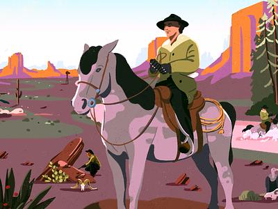 Pony Express creative fagostudio nantes cowboy horse pony colors nature ambiant design character texture illustration