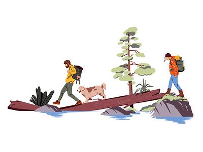 Hiking hiker hike nature colors brush fagostudio people ambiant character texture illustration