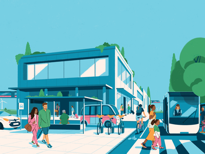 Illustration cover for Keolis annual report colors architecture modern city transport mobility cover photoshop fagostudio design character texture illustration