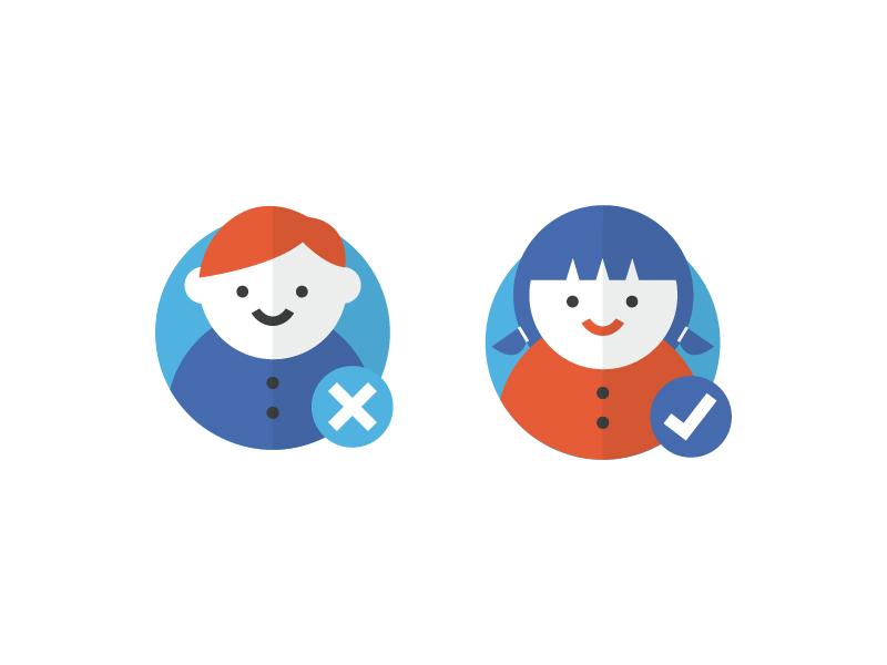 Gender Icon checkmark gender icon iconography illustration girl boy