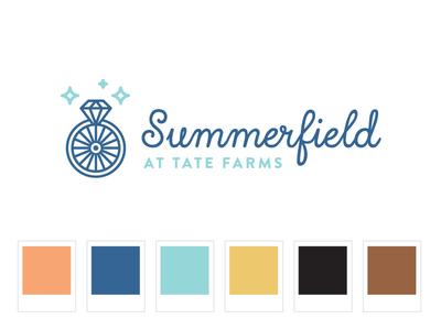 Logo Graveyard: Summerfield identity logo western country venue engagement ring wheel wagon wedding