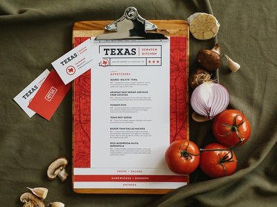 TSK Menu Design kitchen print business cards branding publication texas menu
