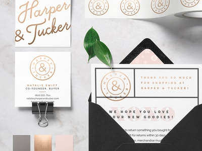 Harper & Tucker Launch collateral seal clothing postcard rose gold gold foil business cards branding logo identity fashion