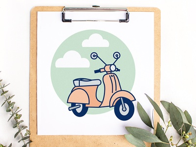 Day 2/100 - Vespa - Illustration a Day clouds motorcycle challenge illustration scooter whimsical cute vespa