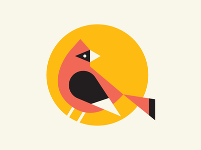 Day 3/100 - Bird - Illustration a Day icon simple illustration 100 day project geometric cardinal bird