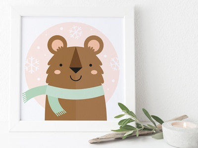 Day 4/100 - Snow Bear - Illustration a Day whimsical children cute challenge illustration scarf snow bear
