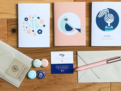 Tiny Treehouse Co. shop stationery paper goods illustration cute small business cards greeting