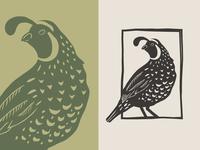 Inmendo – Quail Logo blockprint linocut luxury candle bird identity branding logo quail