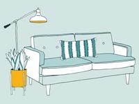 Mid-century Illustration Bits illustration living room lamp snake plant couch midmod midcentury furniture