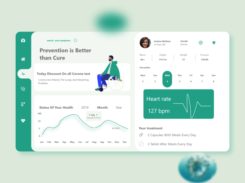 Health Care user interface design healthcare dashboard design adobexd typography web design ux ui