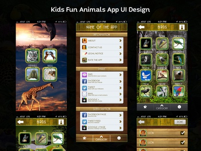 Kids Fun Animals App UI Design