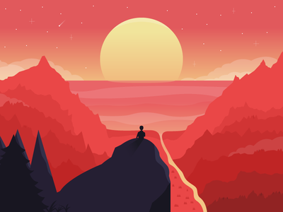 Life is precious shadows silhouettes panorama stars sun trees mountains sea illustration playoff shopify