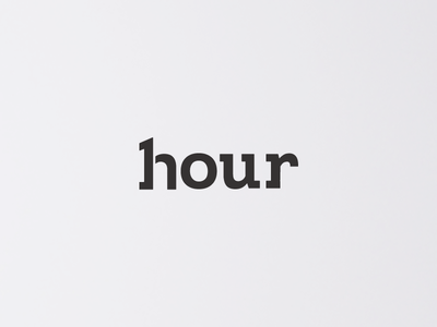 One Hour. white black time hour number text logotype branding