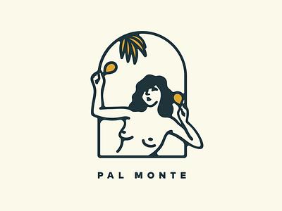 Pal Monte logo caribbean tropical woman stamp design illustration branding design branding