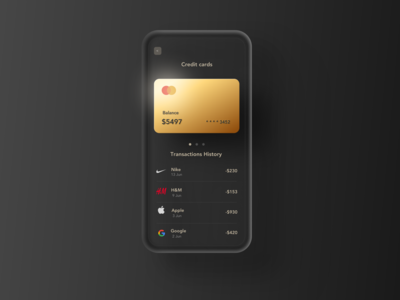 Golden credit card ui template freebie