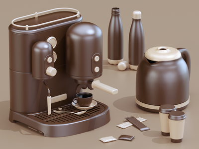 COFFEE TIME 3d artist photoshop coffe c4d 3d art 3d composition modeling render ux ui website redshift illustration cinema4d web icon branding design art