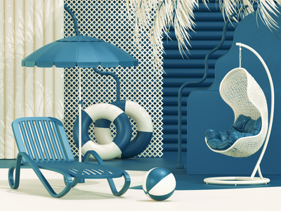Miss Summer  days... c4d days summer 3d art 3d scene composition modeling render ux ui website redshift illustration cinema4d web icon branding design art