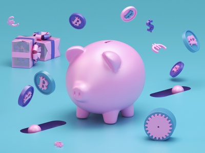 Bitcoin 3D models 3d artist 3d art 3d pig bitcoins c4d modeling model render ux ui website redshift illustration cinema4d web icon branding design art