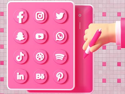 Social Media icons socialmedia render c4d 3d art 3d uxdesign uidesign ui ux modeling website redshift illustration cinema4d web icon branding design art