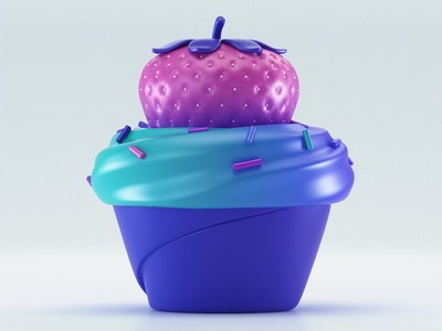 Strawberry c4d designs uxdesign uidesign 3d artist 3d art 3d modeling render ux ui illustration website redshift cinema4d icon web branding design art