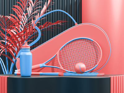 Tennis composition c4d 3d artist 3d art 3d uxdesign uidesign modeling render ux ui illustration website redshift cinema4d icon web branding design art