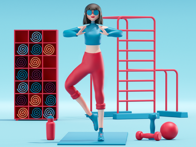 Girl in the gym modeling render composition scene 3d artist 3d art 3d uxdesign uidesign ux ui illustration website redshift cinema4d icon web branding design art
