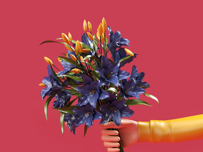 Flowers Bouquet designs hand flowers modeling render c4d 3d artist 3d art 3d ux ui illustration website redshift cinema4d icon web branding design art