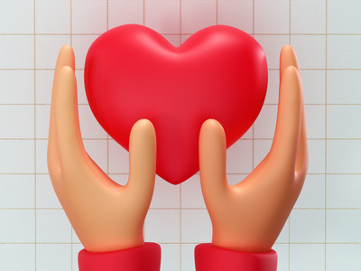 Love Icon heart hand love 3dcharacter 3d modeling 3d artist 3d art 3d modelling render ui modeling redshift cinema4d illustration icon web branding design art