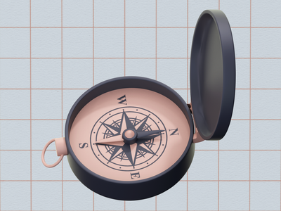Compass Icon photoshop c4d uidesign render compass 3d modeling 3d artist 3d art 3d ui modeling website redshift cinema4d illustration icon web branding design art