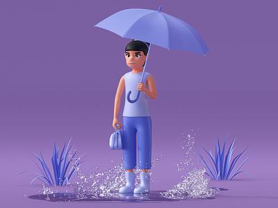 Girl with umbrella render c4d characterdesign character 3dcharacter 3d modeling 3d artist 3d art 3d ui modeling website redshift cinema4d illustration icon web branding design art