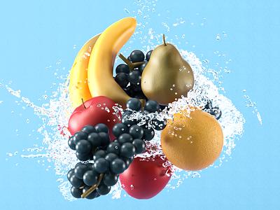 Fruit 3D Models fruit illustration c4d render fruit ui design 3d modeling 3d artist 3d art 3d ui modeling website redshift cinema4d illustration icon web branding design art