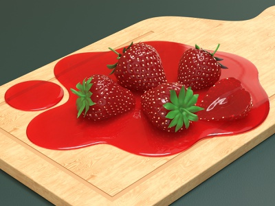 Strawberries composition render c4d strawberries fruit 3d modeling 3d artist 3d art 3d ui modeling website redshift cinema4d illustration icon web branding design art
