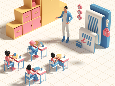 Education modeling uidesign render character 3dcharacter 3dmodeling 3ddesign 3dart ui cinema4d illustration icon web branding design art 3d