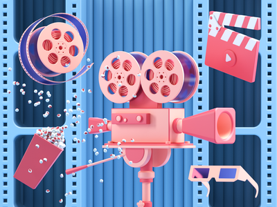 Movie Icons movie scene render redshift c4d 3dmodeling 3ddesign 3dart ui cinema4d illustration icon web branding design art 3d