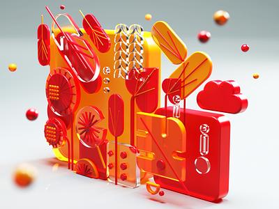 3D Illustration composition render redshift c4d 3dmodeling 3ddesign 3dillustraton 3dart vector ui cinema4d illustration icon web branding design art 3d