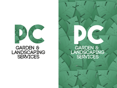 PC Gardening Logo garden logo landscaping gardening garden green leaves plants logo branding vector illustration flat cartoon design