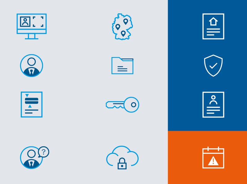 moovin – digitalization of the rental process branding icon design illustrator vector flat icons