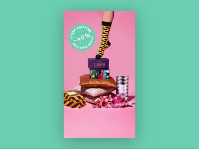 Happy Socks stop motion flat animation social media clothing brand clothing socks colorful happy socks