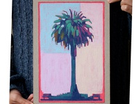 Palmtree - acrylic and watercolor painting on cardboard