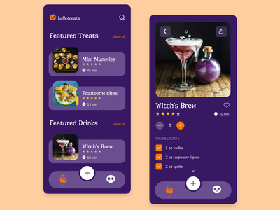 Halloween Recipe App Idea recipes treats ui mobile design halloween
