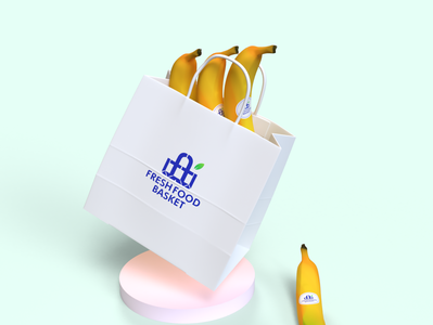 Fresh Food Basket  3D Design logo 3d illustration mockup corporate branding design adobe branding