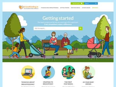 Breastfeeding color breastfeeding colour colourful illustration health ui design