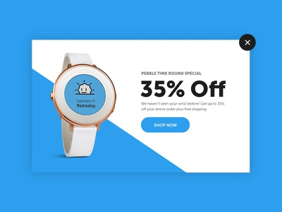 Daily UI #016 - Pop Up daily ui challenge pop up design layout clean minimal product watch pebble