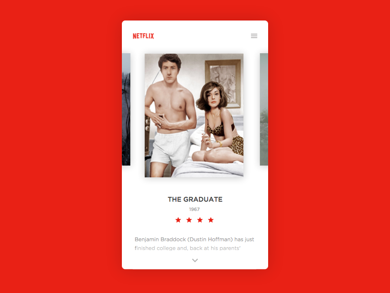 Daily UI #025 - TV App design film movies card clean netflix app tv challenge ui daily